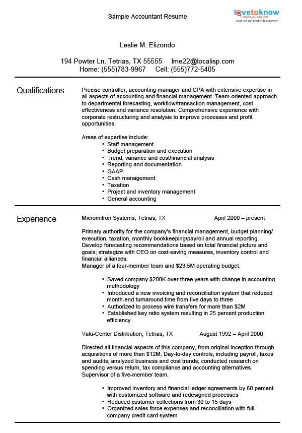 accounting resume samples