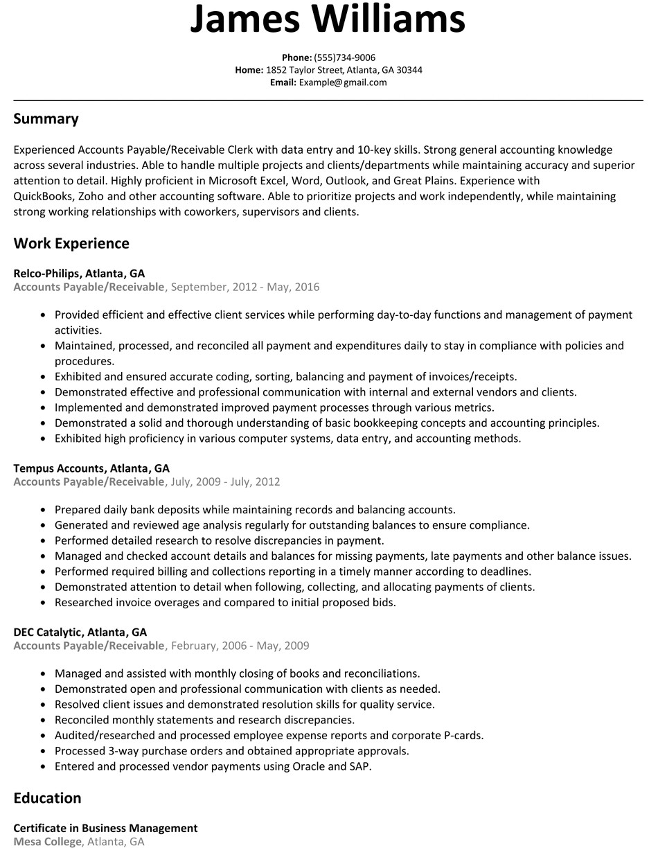 Sample Resume for Accounts Payable and Receivable Accounts Payable Receivable Resume Sample Resumelift Com
