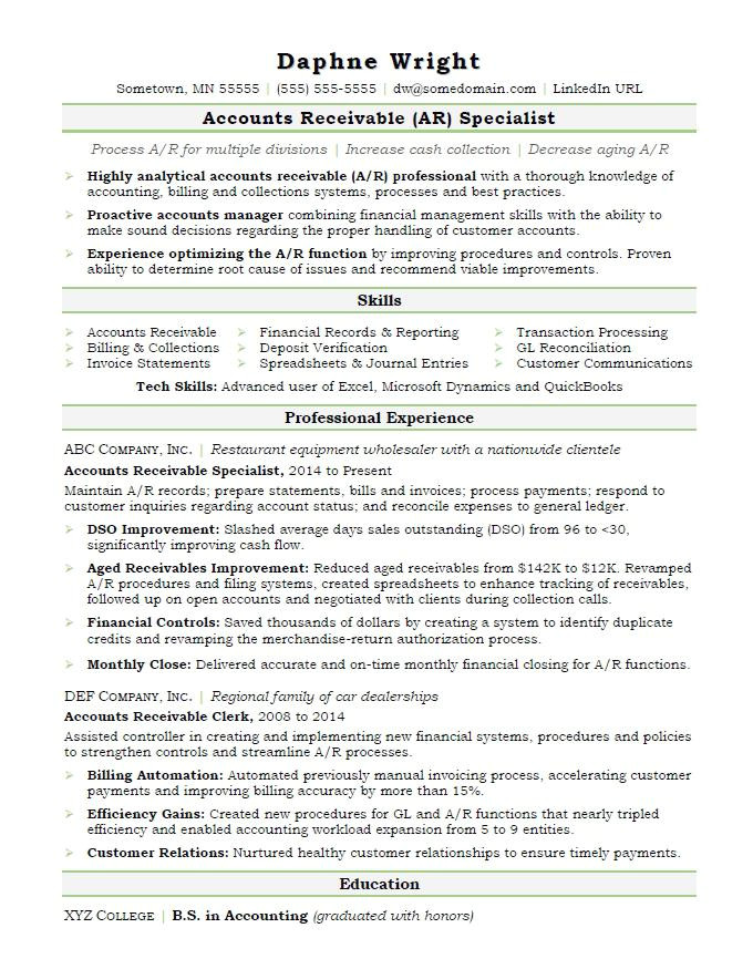 Sample Resume for Accounts Payable and Receivable Accounts Receivable Resume Sample Monster Com