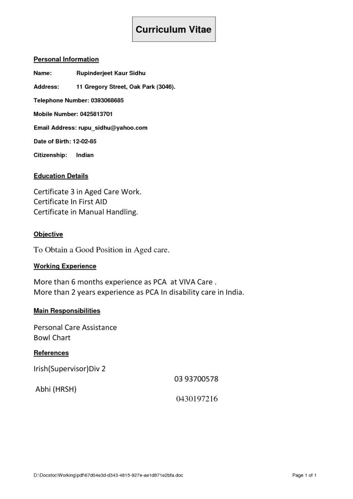 Sample Resume for Aged Care Worker Position Aged Care Resume Template Best Resume Collection