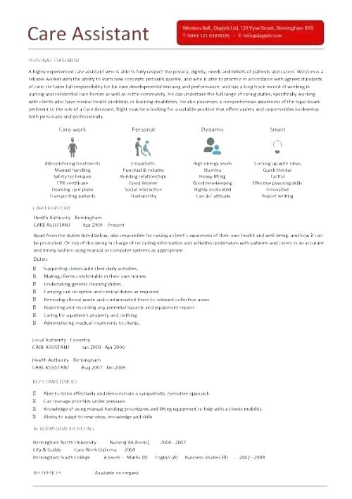 personal care worker resume