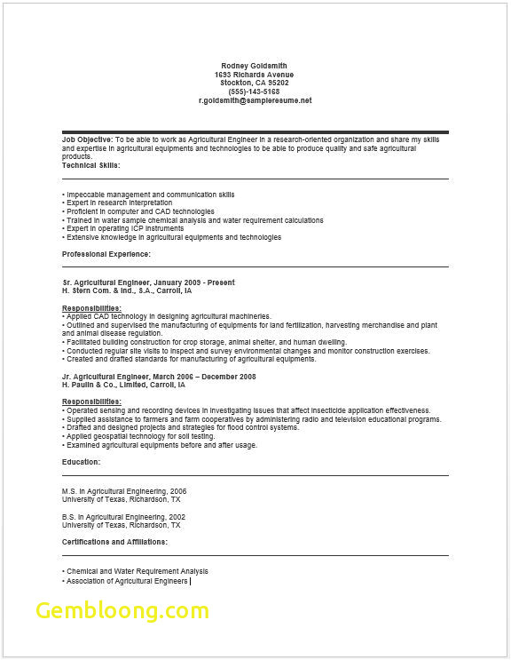 Sample Resume for Agriculture Graduates Download Luxury Agricultural Engineer Sample Resume B4