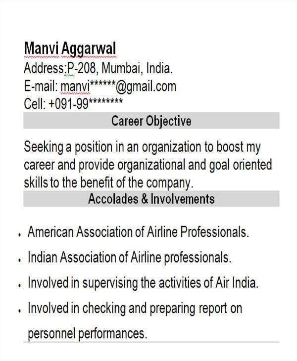 professional fresher resume