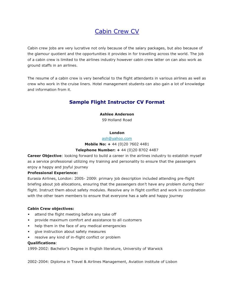 sample resume for fresher air hostess