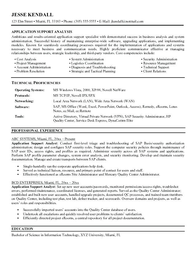 Sample Resume for Application Support Analyst Application Support Analyst Resume Experience Krida Info