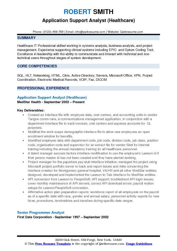 Sample Resume for Application Support Analyst Application Support Analyst Resume Samples Qwikresume