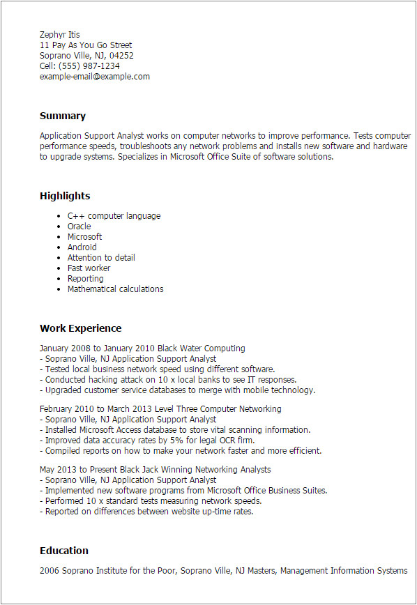 Sample Resume for Application Support Analyst Professional Application Support Analyst Templates to