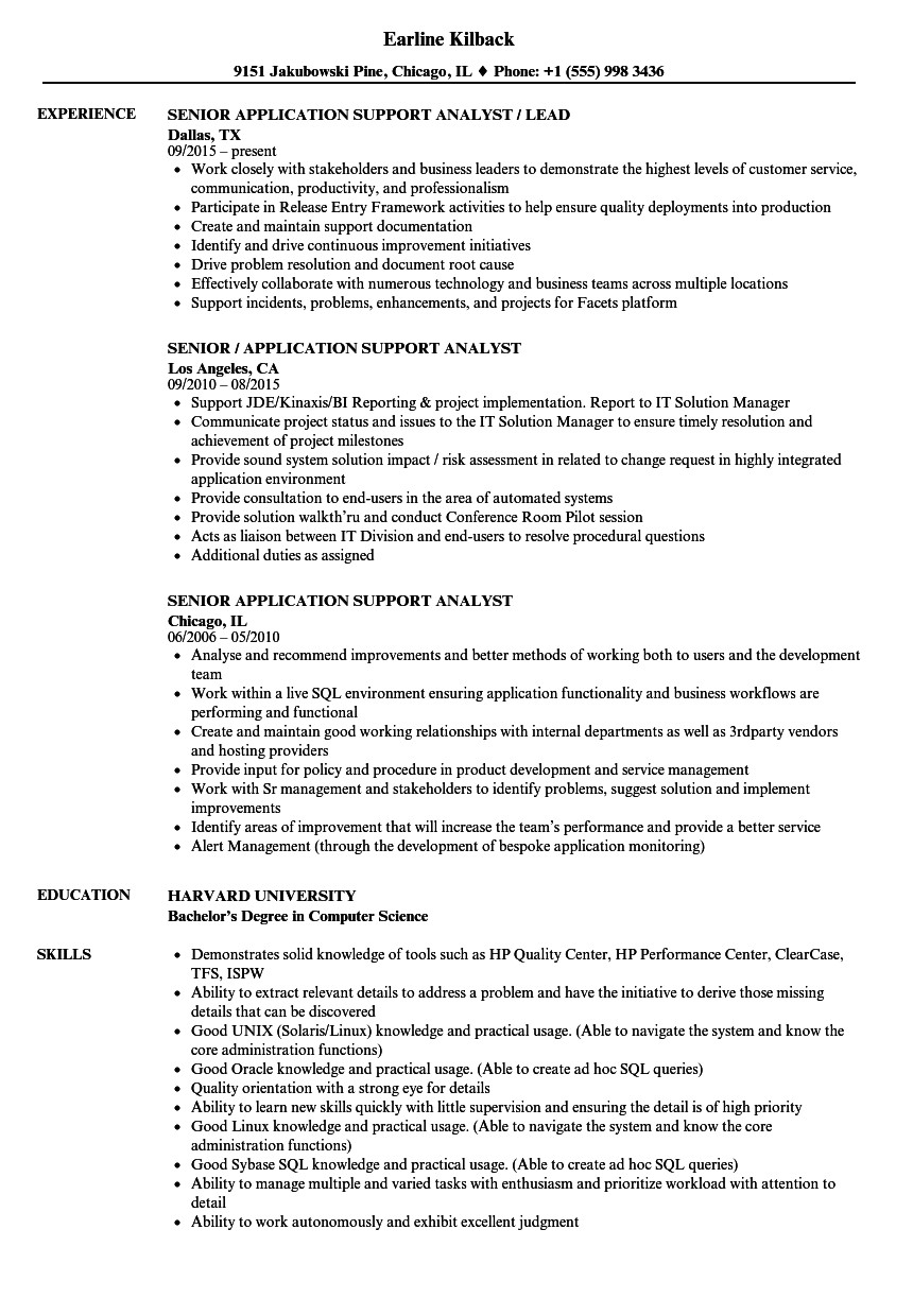 senior application support analyst resume sample