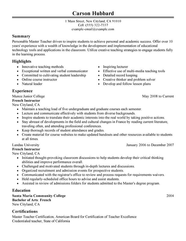 master teacher resume sample