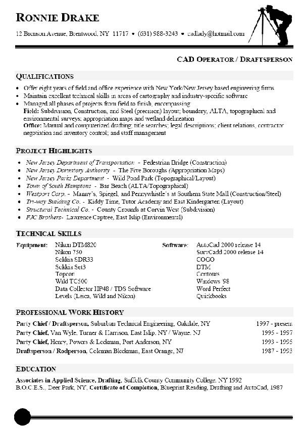 architectural drafting resume sample