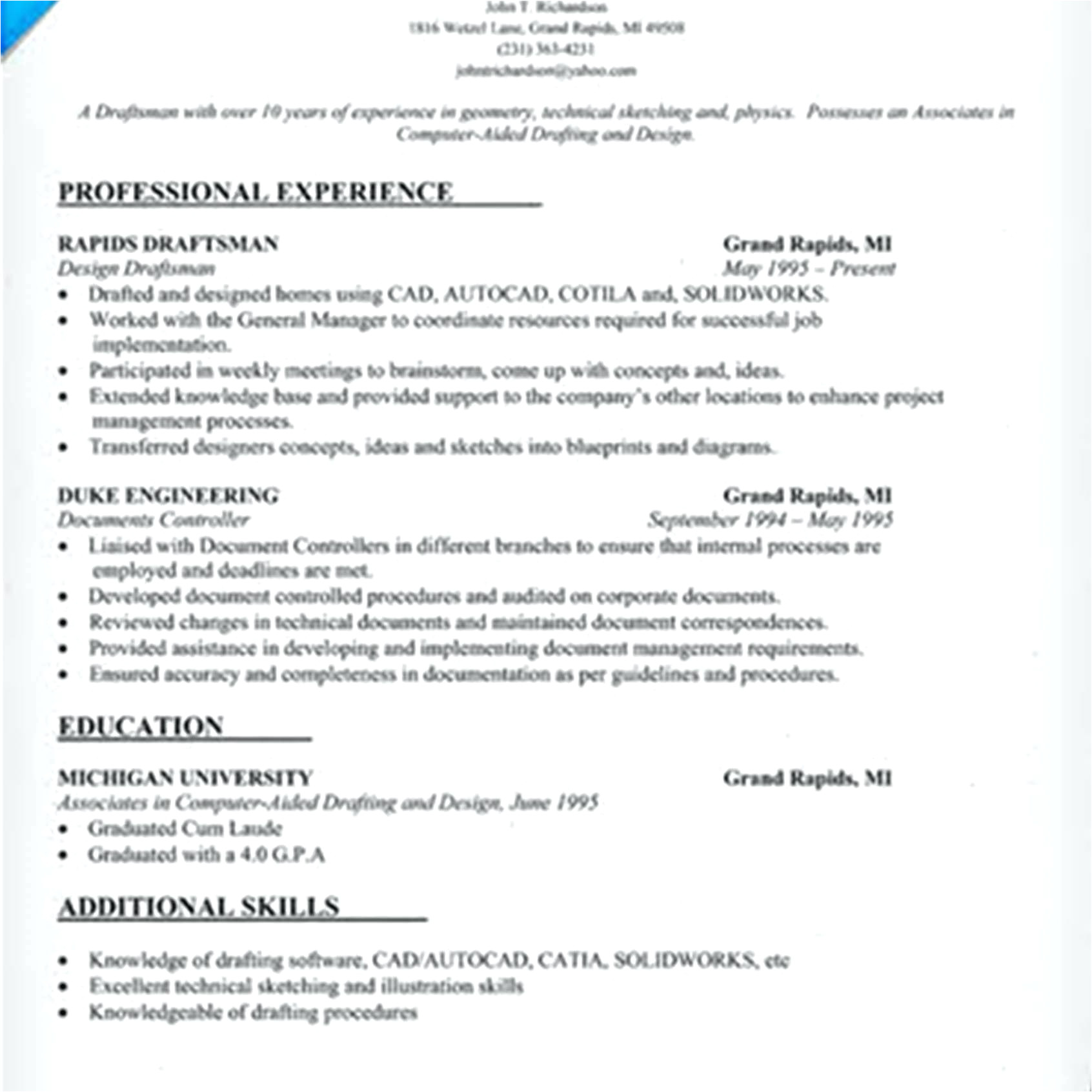 Sample Resume for Architectural Draftsman Cad Resume Eezeecommerce Com