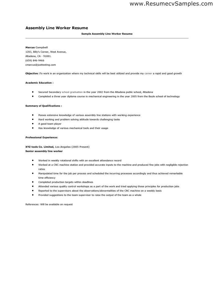 assembler resume sample