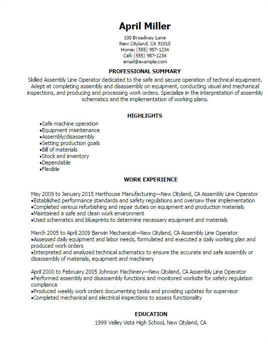 Sample Resume for assembly Line Operator assembly Line Operator Resume Template Best Design