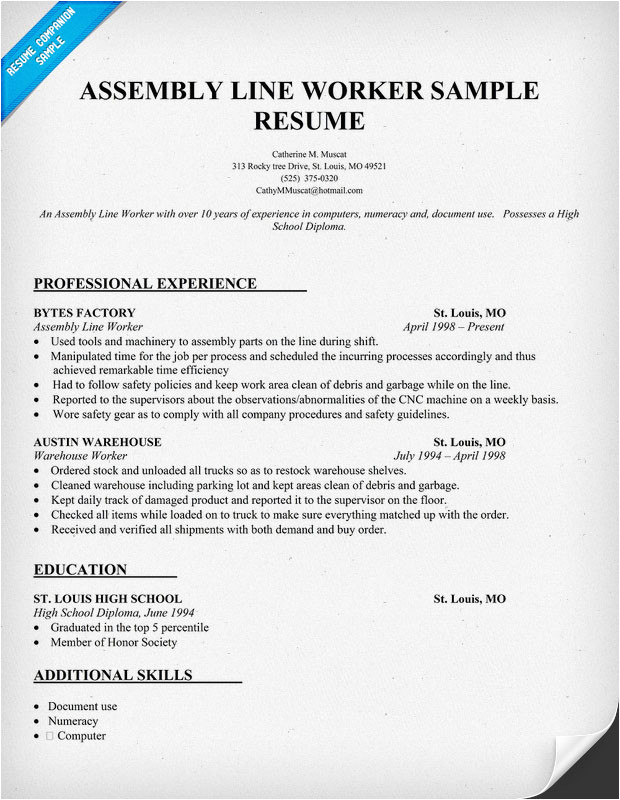 Sample Resume for assembly Line Operator Essay Editing Services Online Polished Paper Resume for