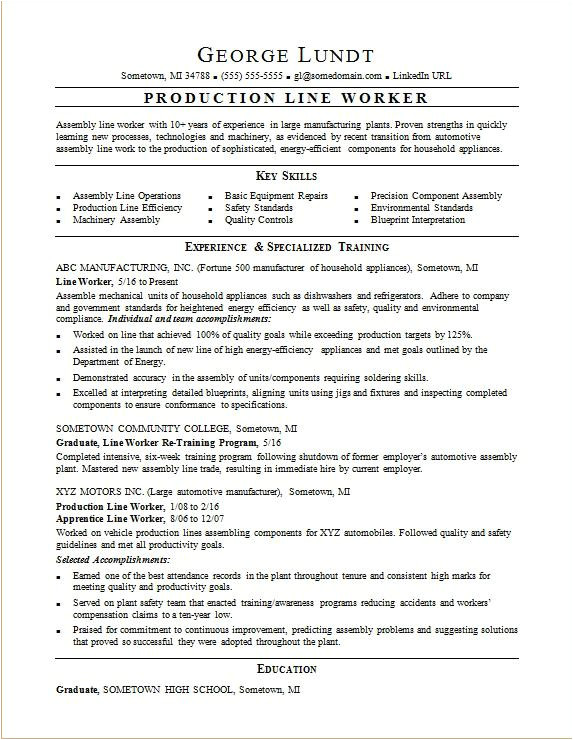 resume production line worker