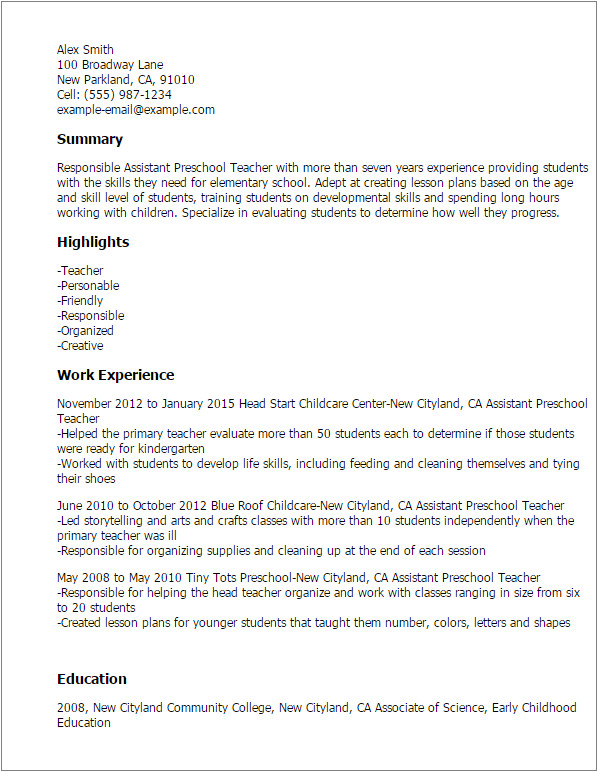 Sample Resume for assistant Teacher In Preschools 1 assistant Preschool Teacher Resume Templates Try them