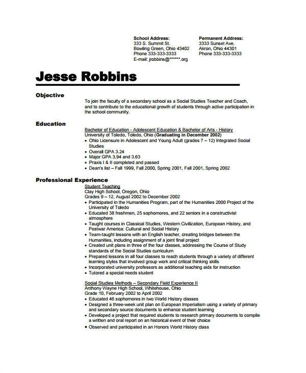 sample resume for assistant teacher in preschools