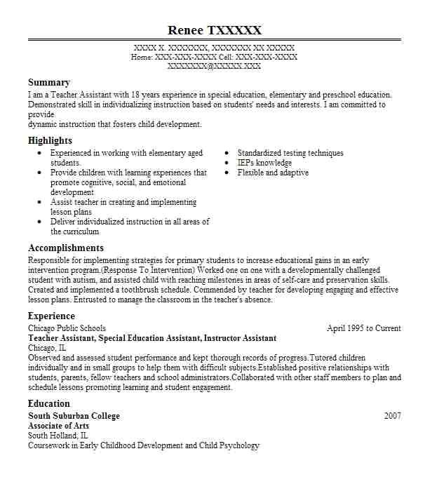 teacher assistant resumes