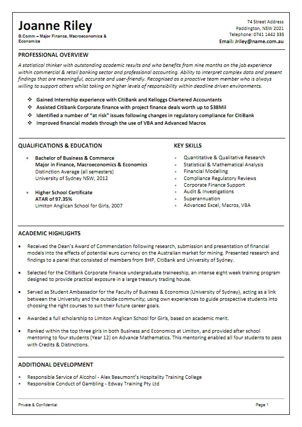 resume sample australia