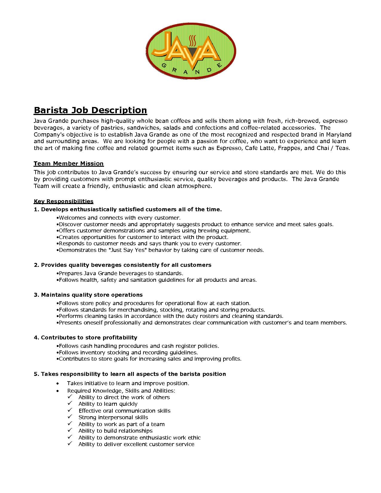 Sample Resume for Barista Position Barista Job Description Resume Samples