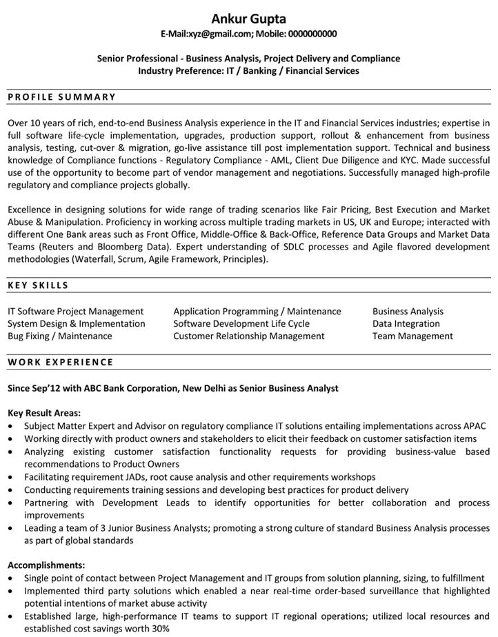 Sample Resume for Business Analyst In Banking Domain Resume Sample for Business Analyst Best Resume Gallery