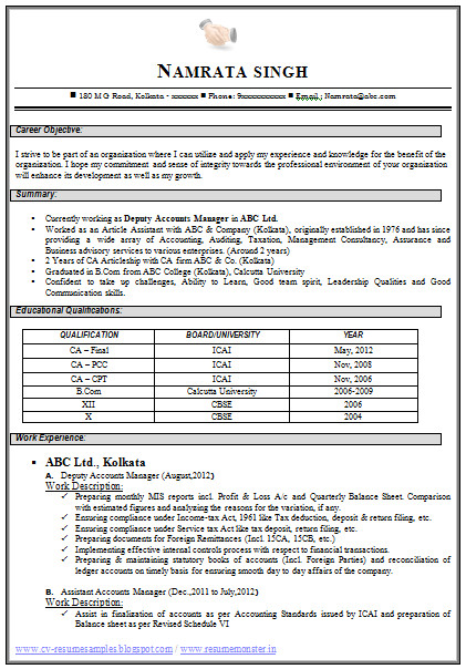 sample resume for ca articleship training 40 fresh fresher accountant resume sample