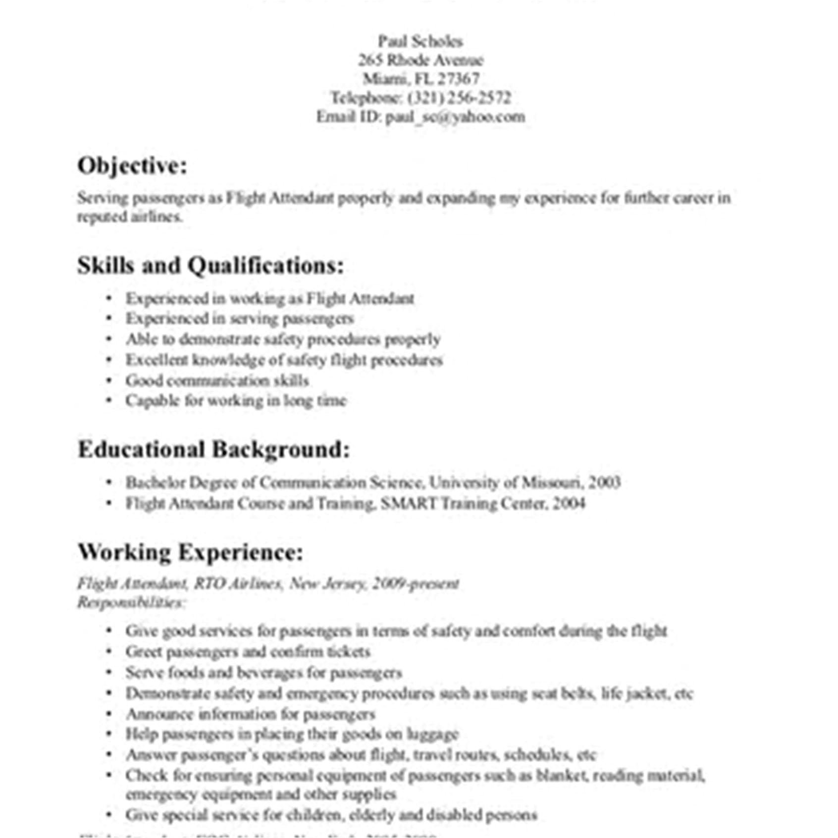 flight attendant resume sample cover letter no experience objective