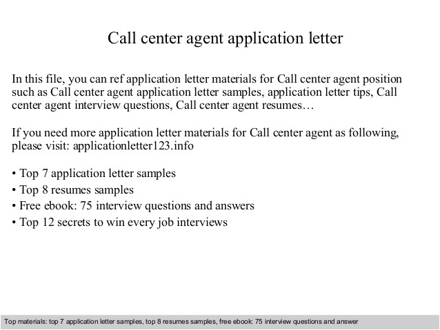 Sample Resume for Call Center Agent Applicant Call Center Agent Application Letter