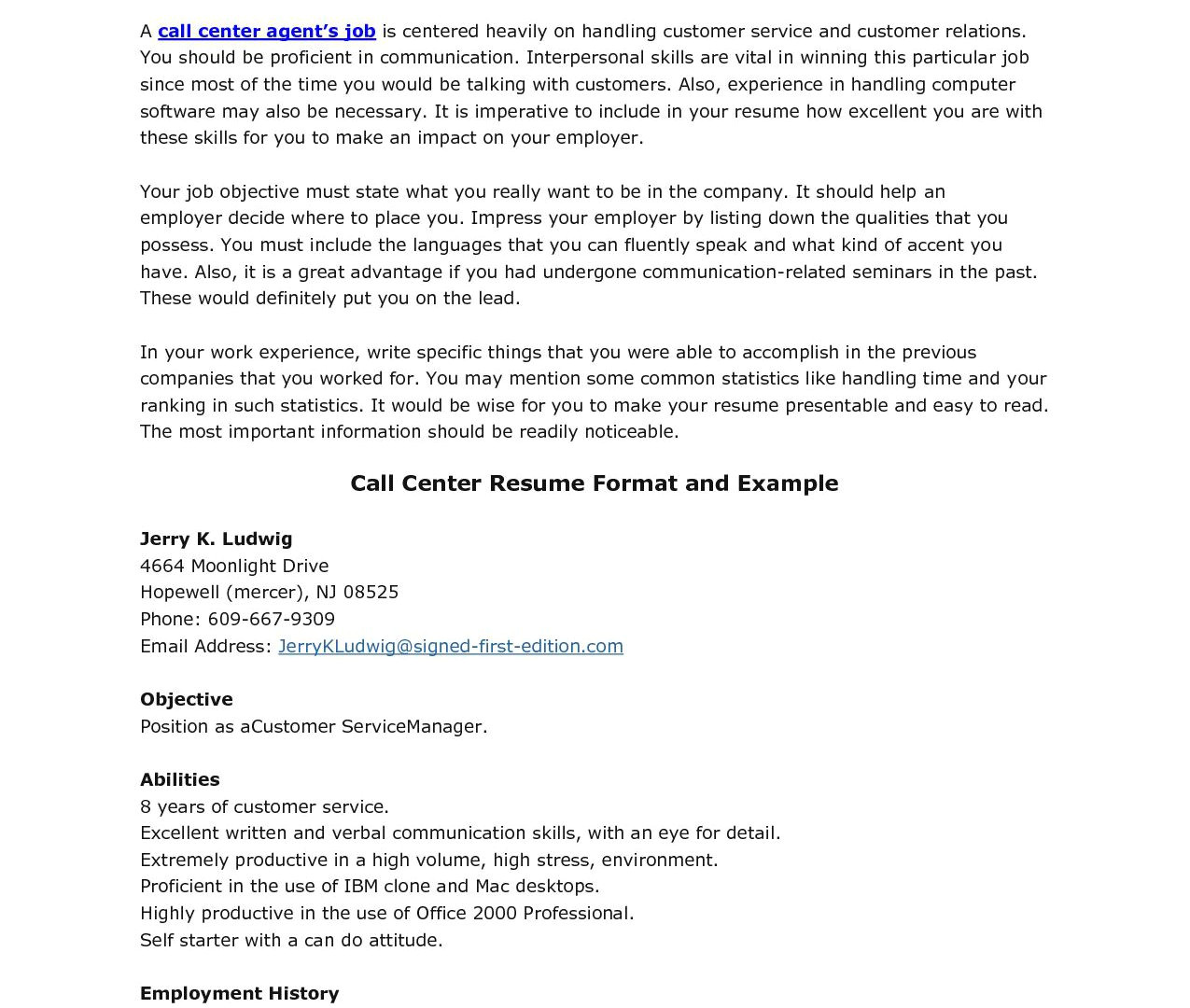 resume sample for call center agent with experience for free pay to