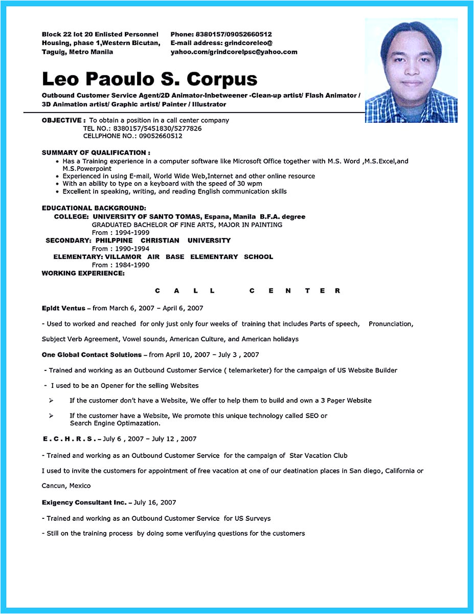 call center resume specialist sample