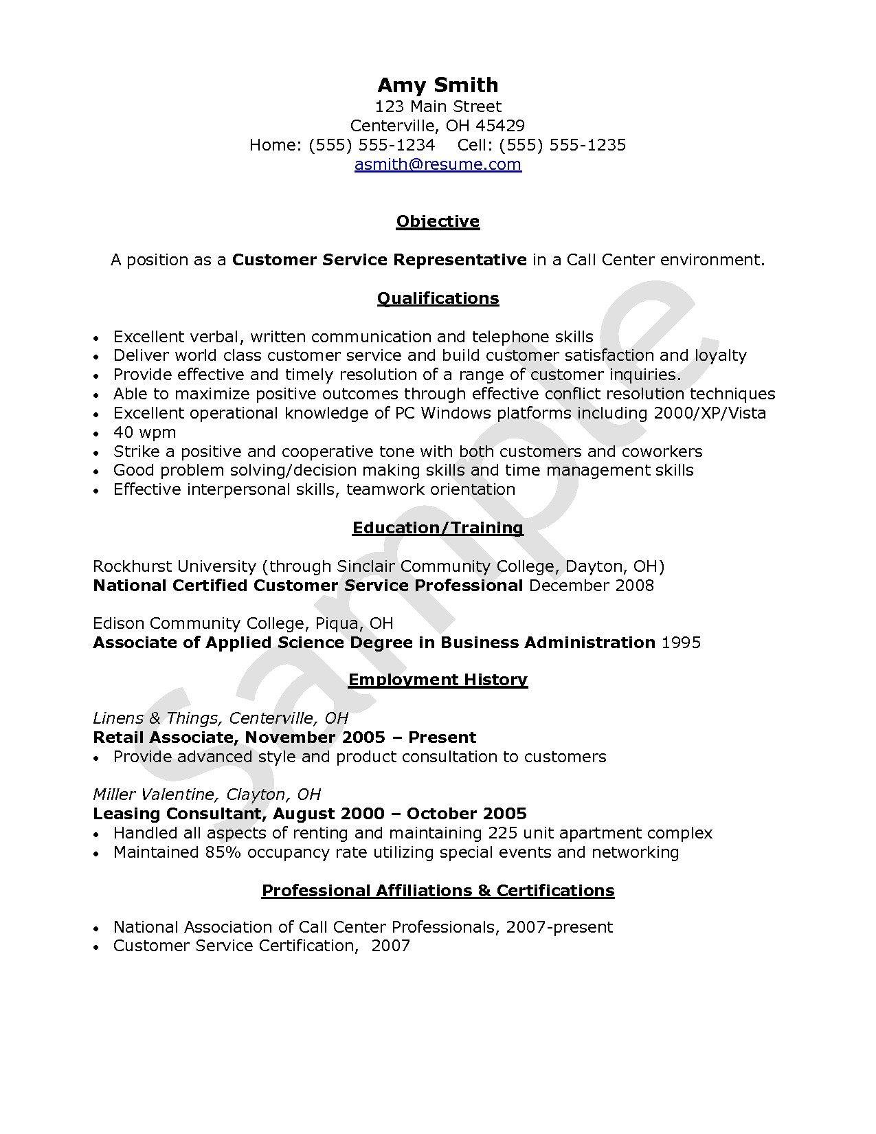 objective for resume customer service call center agent without experience 2
