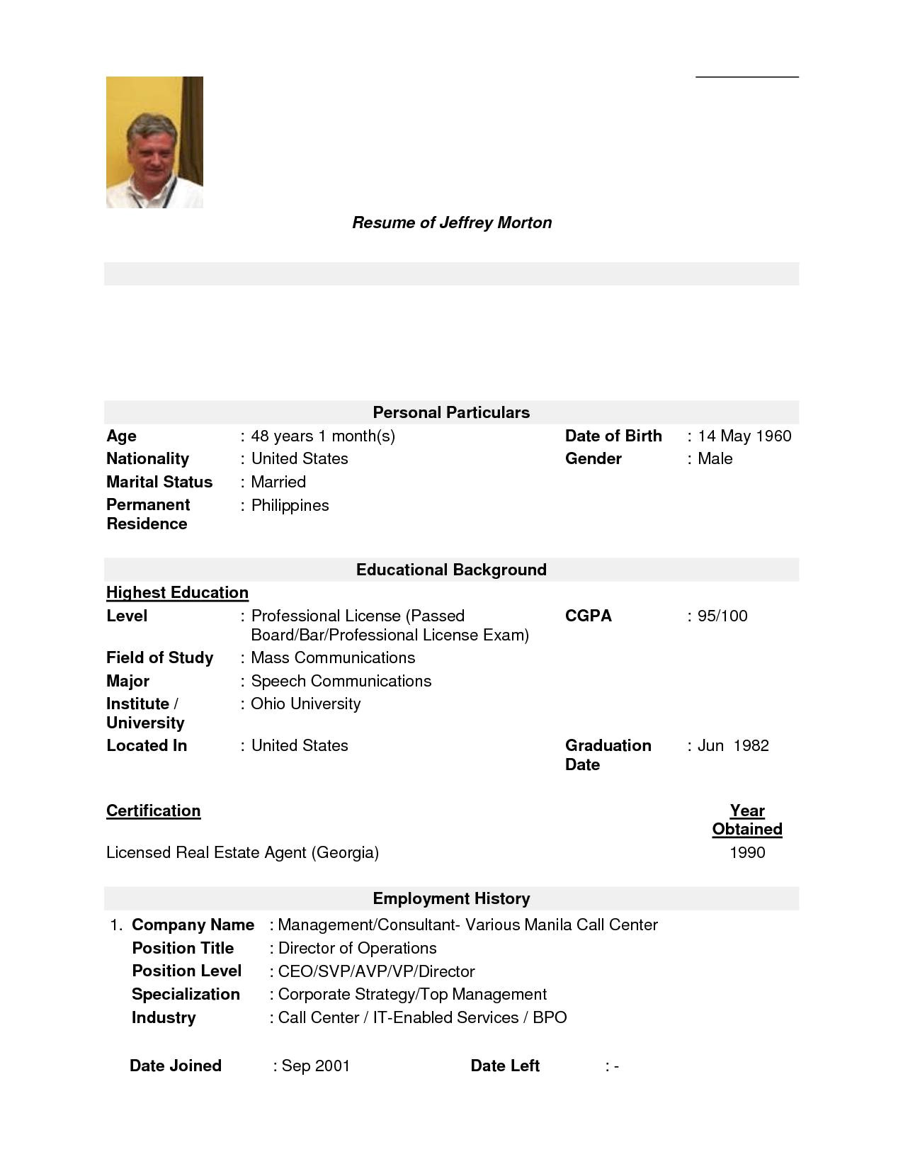 personal background sample resume fresh sample resume for call center agent without experience philippines