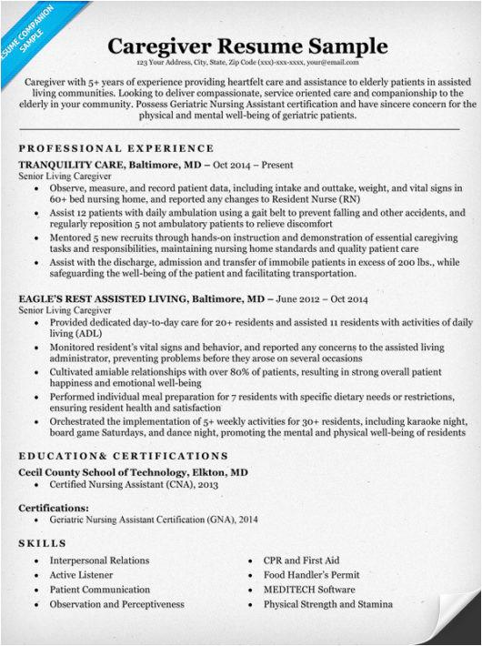 caregiver resume sample