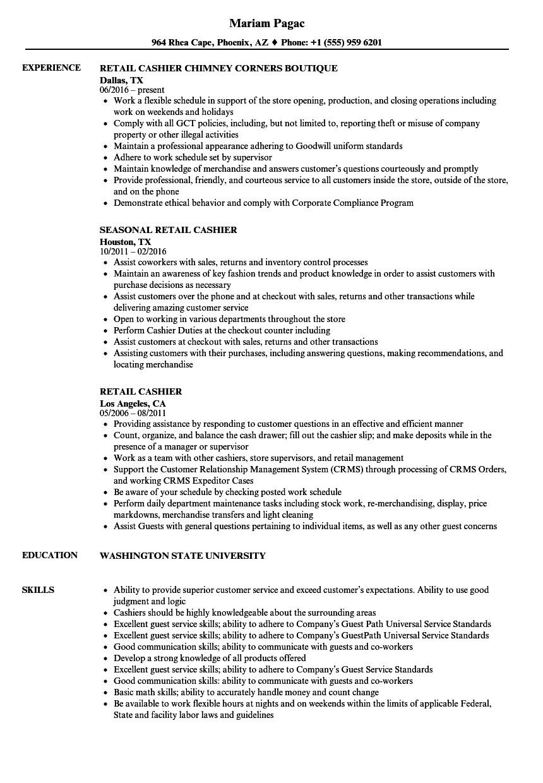 Sample Resume for Cashier Retail Stores Retail Cashier Resume Samples Velvet Jobs