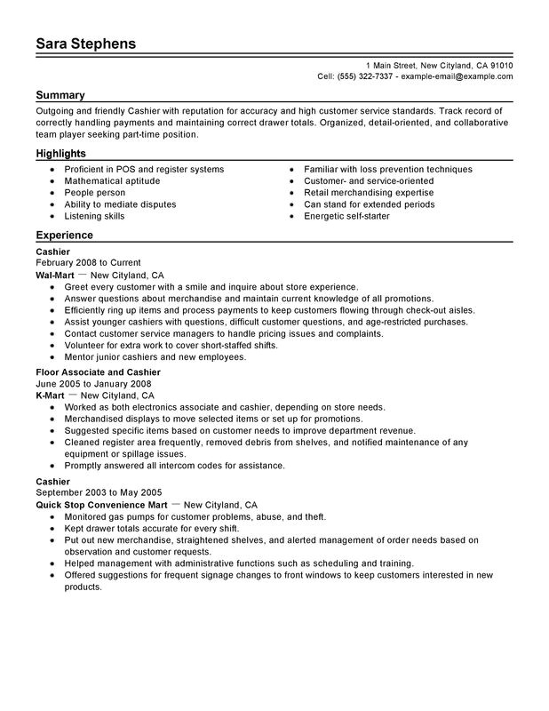 Sample Resume for Cashier Retail Stores Unforgettable Part Time Cashiers Resume Examples to Stand