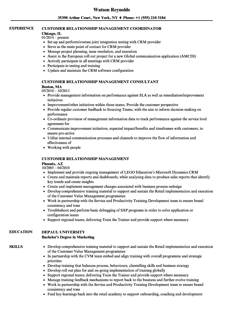 customer relationship management resume sample