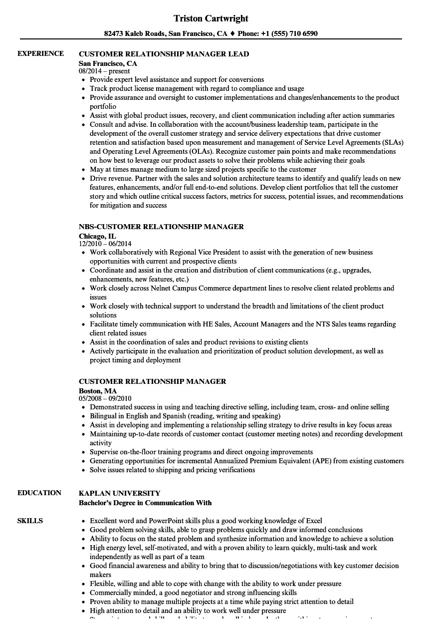 customer relationship manager resume sample