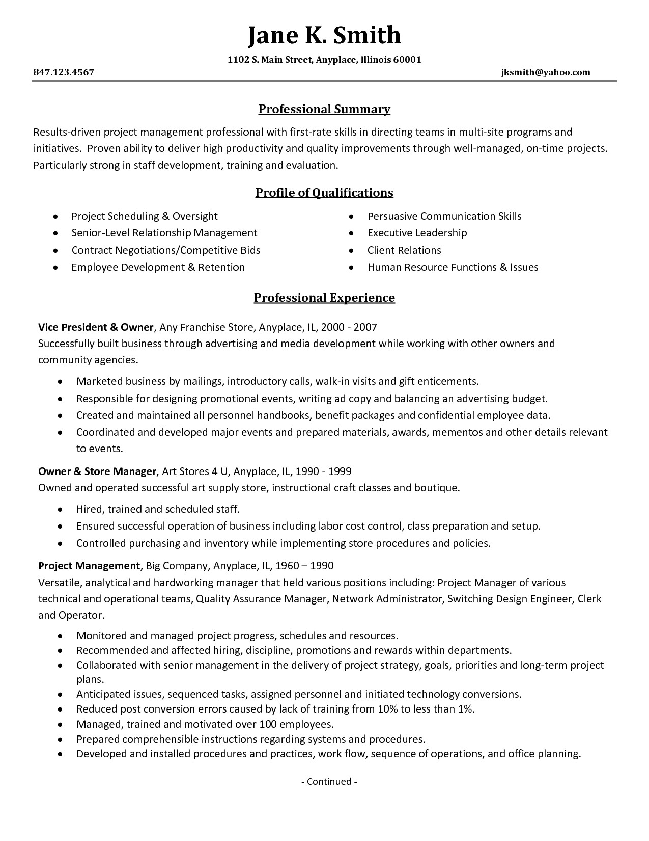 resume enterprise content management