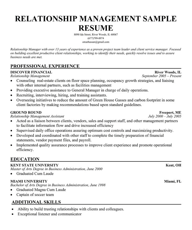 Sample Resume for Client Relationship Management Sample Resume for Customer Relationship Manager