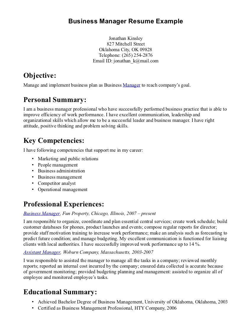business owner resume examples samples