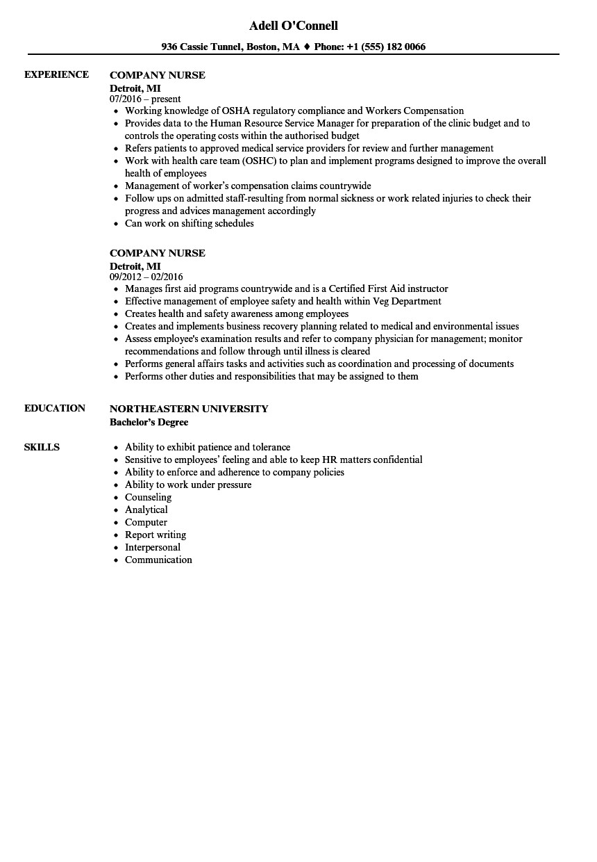 company nurse resume sample