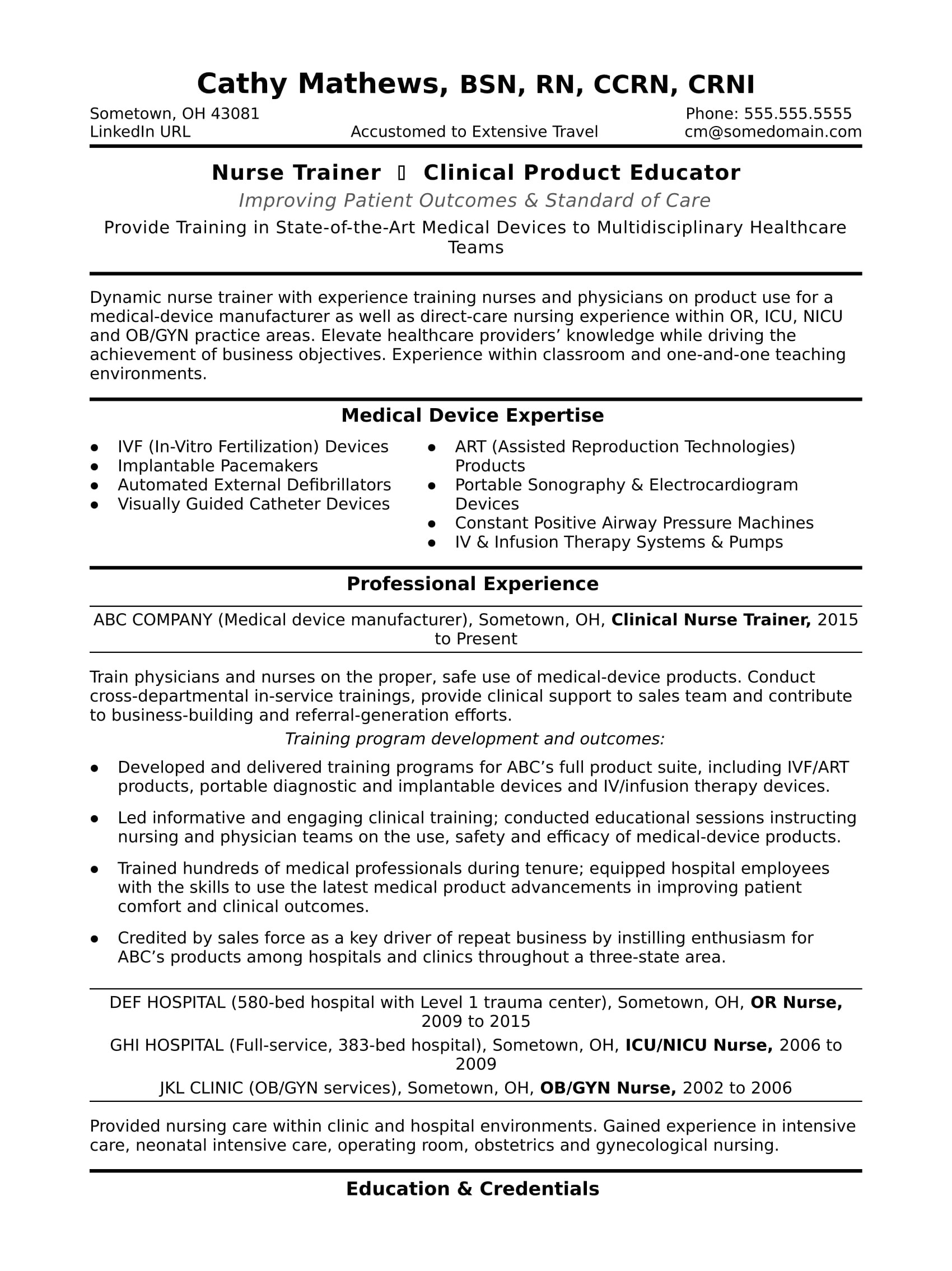 sample resume nurse trainer