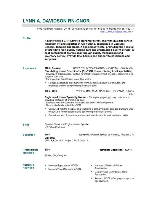 sample resume for nursing school application