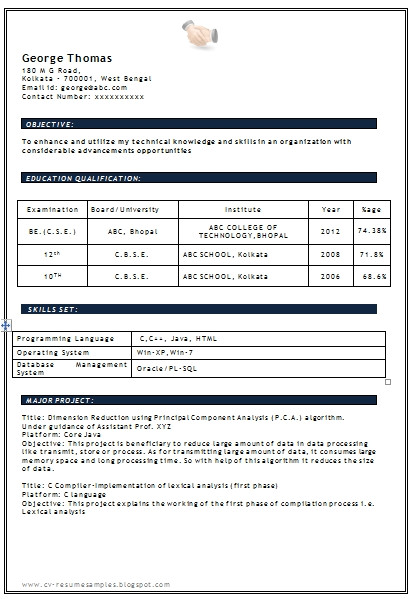 resume format for freshers engineers computer science