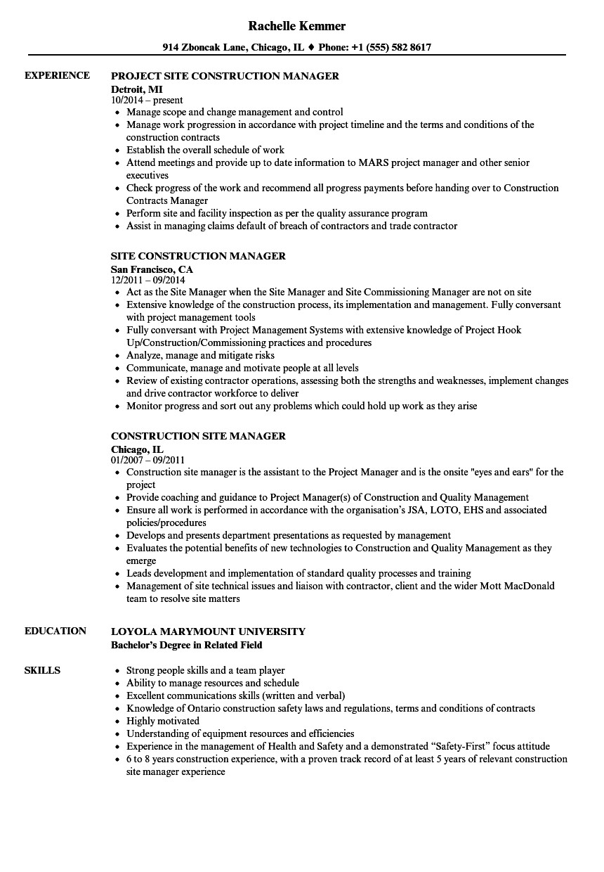 construction site manager resume sample
