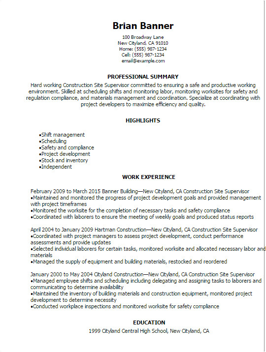 construction site supervisor resume