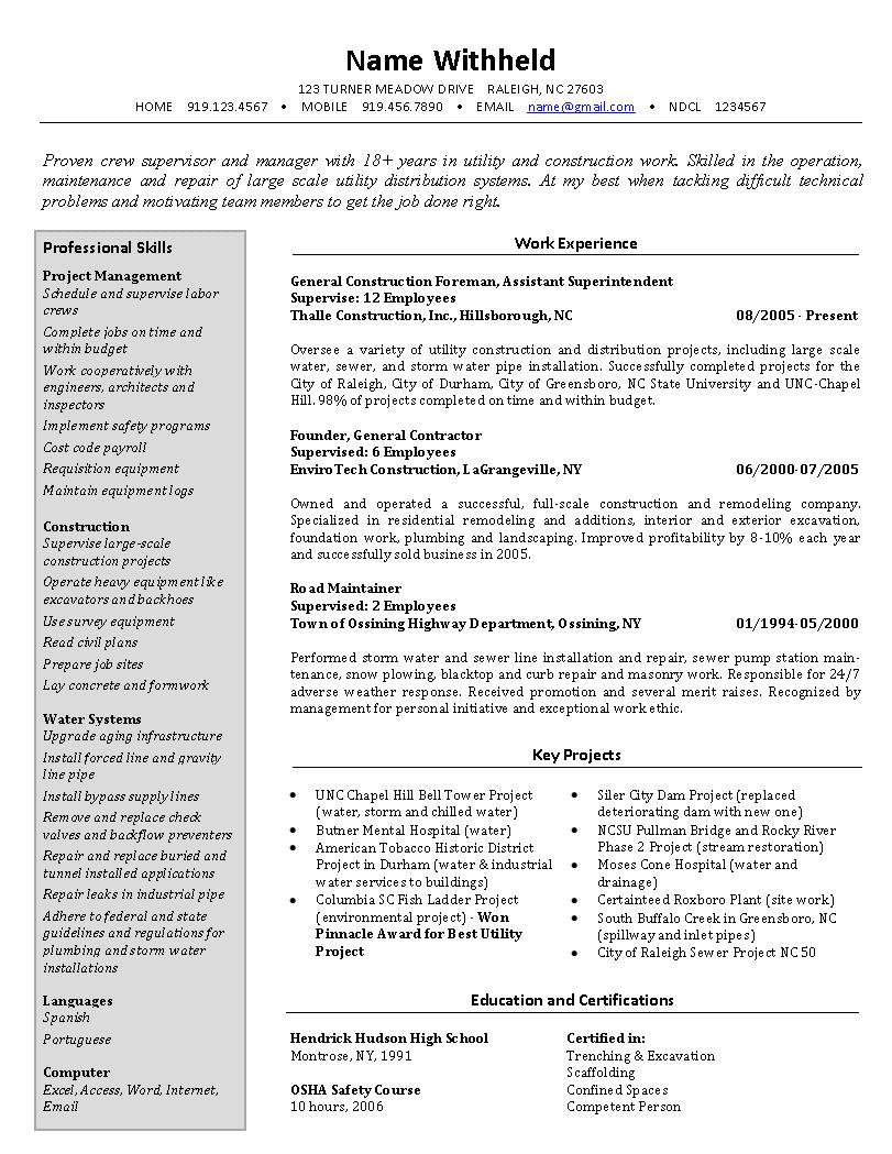 Sample Resume for Construction Site Supervisor Crew Supervisor Resume Example Sample Construction Resumes
