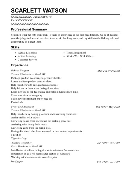 resumes bakery wrapper costco wholesale 1958102