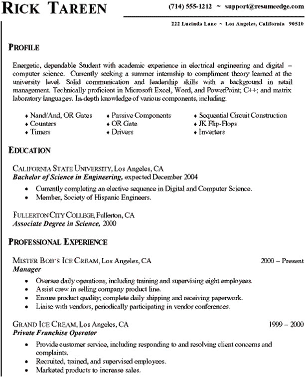 Sample Resume for Cse Students Computer Science Resume Templates Samplebusinessresume
