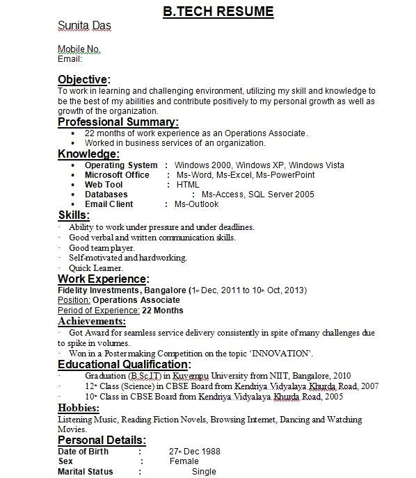 resume format for b tech students